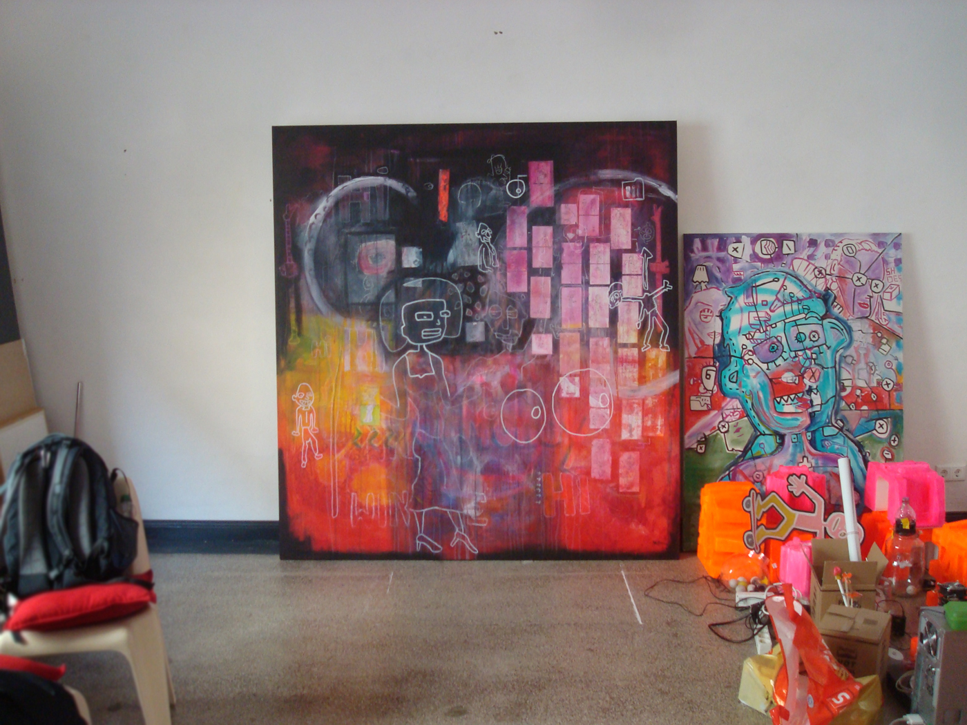"""Ca. 185 x 195 cm acrylic and chalk on canvas ... From the series """"Ape And Elektrik"""" - Black Napkins."""